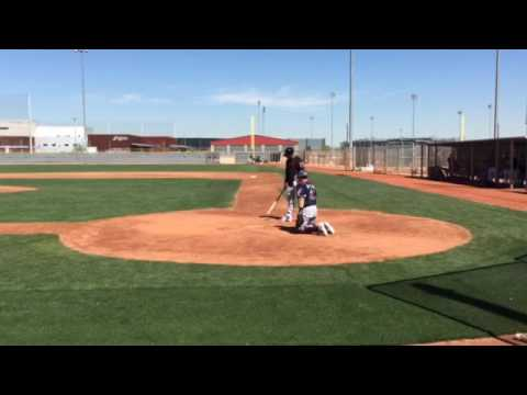 Cleveland Indians' Michael Brantley swings away in simulated game.