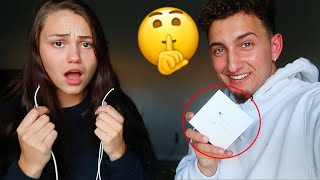 CUTTING MY GIRLFRIENDS EARPHONES AND SURPRISING HER WITH AIRPODS!! *CUTE REACTION*