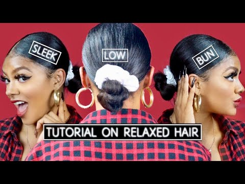 Sleek Low Bun Tutorial On Relaxed Hair | Jazzie Jae T