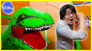24 Hour Challenge in Giant Box Fort Mazes + Zombies & Giant Dinosaurs
