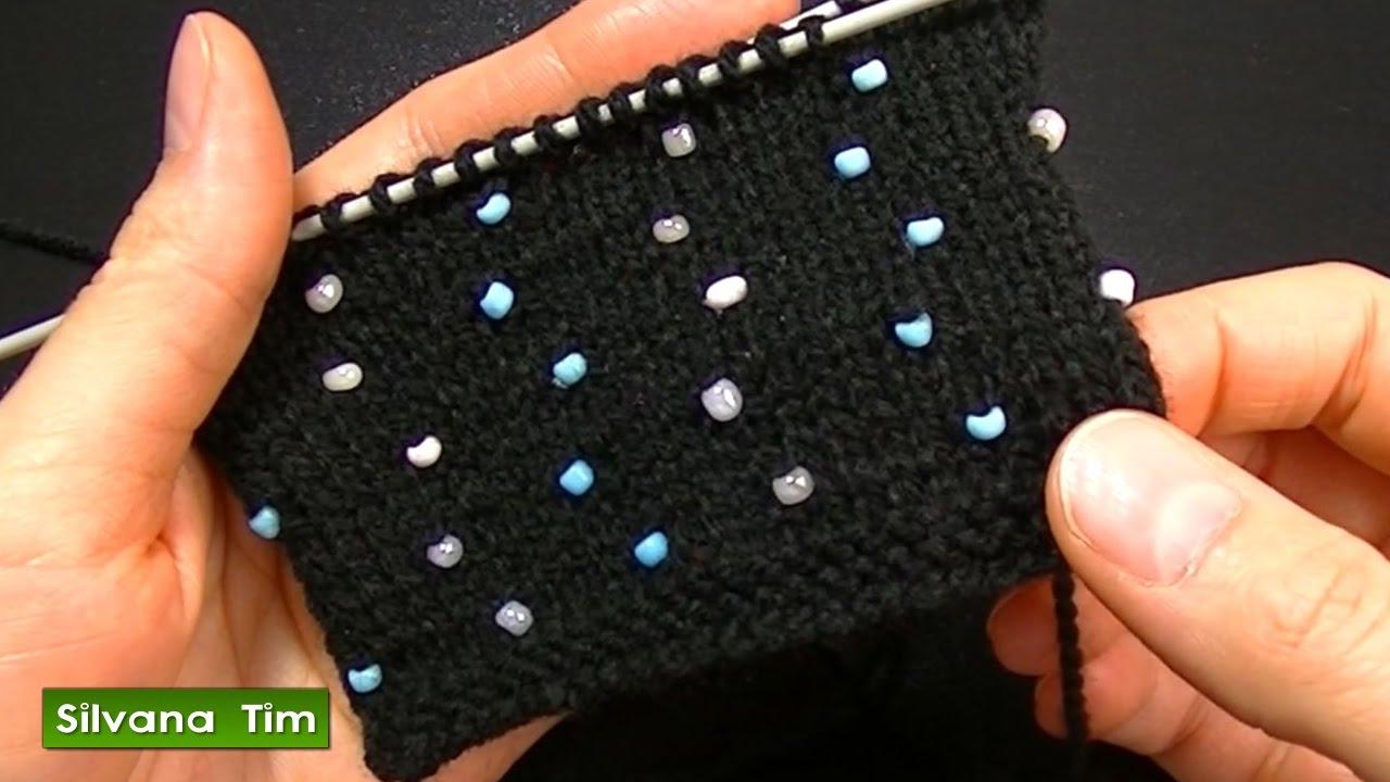 Cómo agregar perlas (abalorios, cuentas, mostacillas) Tejido con dos ...