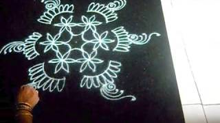 Rangoli design - special combination dot grid and free hand