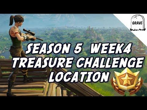 (PS4) Fortnite Season 5 Week 4 Treasure Map Challenge Location.