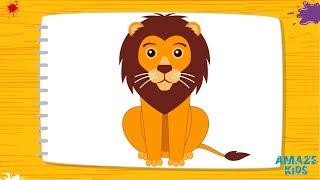 Как Нарисовать Льва для Детей. Рисунки Своими Руками. Учимся Рисовать Животных. Уроки Рисования