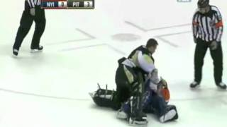NHL goalie fight Brent Johnson knocks out Rick DiPietro (HD)