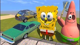 High Speed Jump Crashes Over SpongeBob & Patrick - BeamNG Drive Brutal Slope Jumps