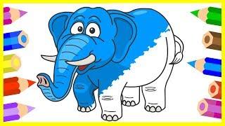 Раскраска для детей - Мультик про слона - Крокодил - Лиса - Бык - Учим цвета