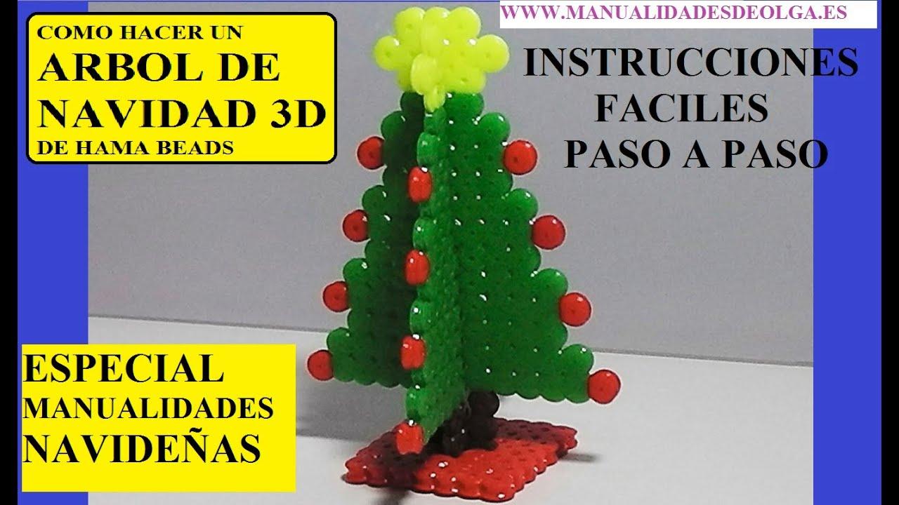 Como hacer un arbol de navidad 3d de hama beads o cuentas - Como hacer cosas de navidad ...