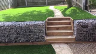 Small garden landscape with Gabion boxes and 30mm Artificial lawn