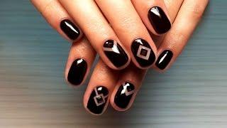 Дизайн ногтей гель-лак shellac - Дизайн ногтей стразами + роспись (видео уроки дизайна ногтей)