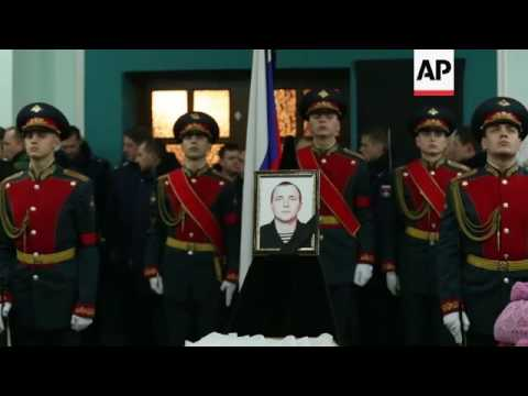 Burial of Russian marine killed in Syria