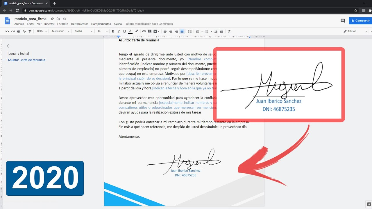 Como Crear Una Firma Digital En Documentos De Google Youtube