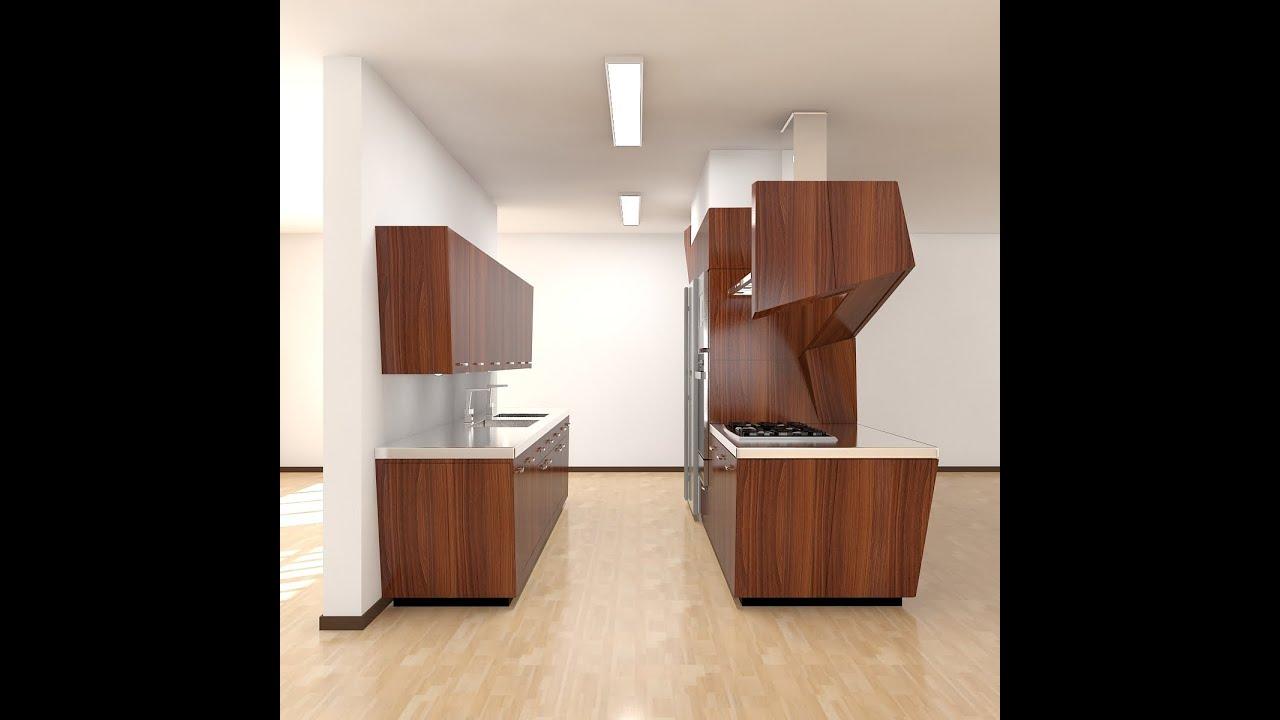 3D Studio Max Kitchen Modern (Model Available)