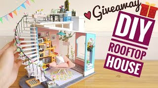 DIY Miniature Rooftop House [GIVEAWAY CONTEST] (Robotime Dora's Loft)