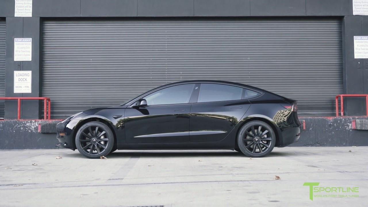 t sportline tesla model 3 blacked out chrome plus 19 matte black tst wheels youtube. Black Bedroom Furniture Sets. Home Design Ideas