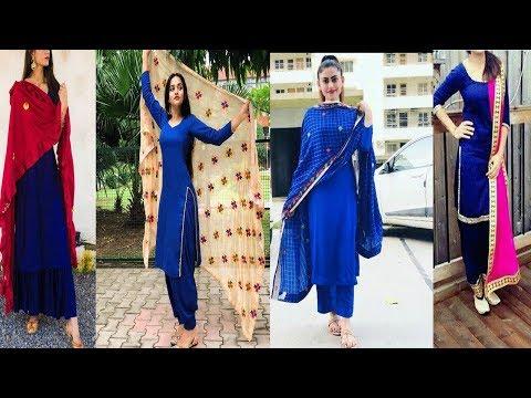 plain-royal-blue-suits-with-contrast-dupatta-designs||royal-blue-punjabi-suits-with-contrast-dupatta