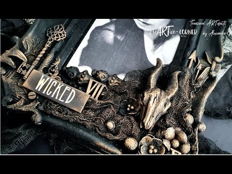 'Wicked' Mixed Media Halloween Photo Frame | Beginner Tutorial | DT Project for CreARTive Corner thumbnail