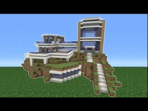 Minecraft tutorial how to make a modern mountain mansion for How to build a house in a mountain