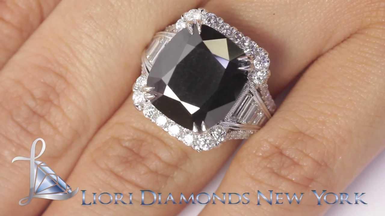 Bdrsold048  1273 Carat Cushion Cut Natural Black Diamond Engagement Ring  14k Vintage Style