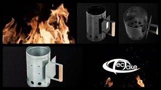 TecTake - Rozpalacz komin XXLdo rozpalenia grilla z osłoną termiczną czarny lakierowany