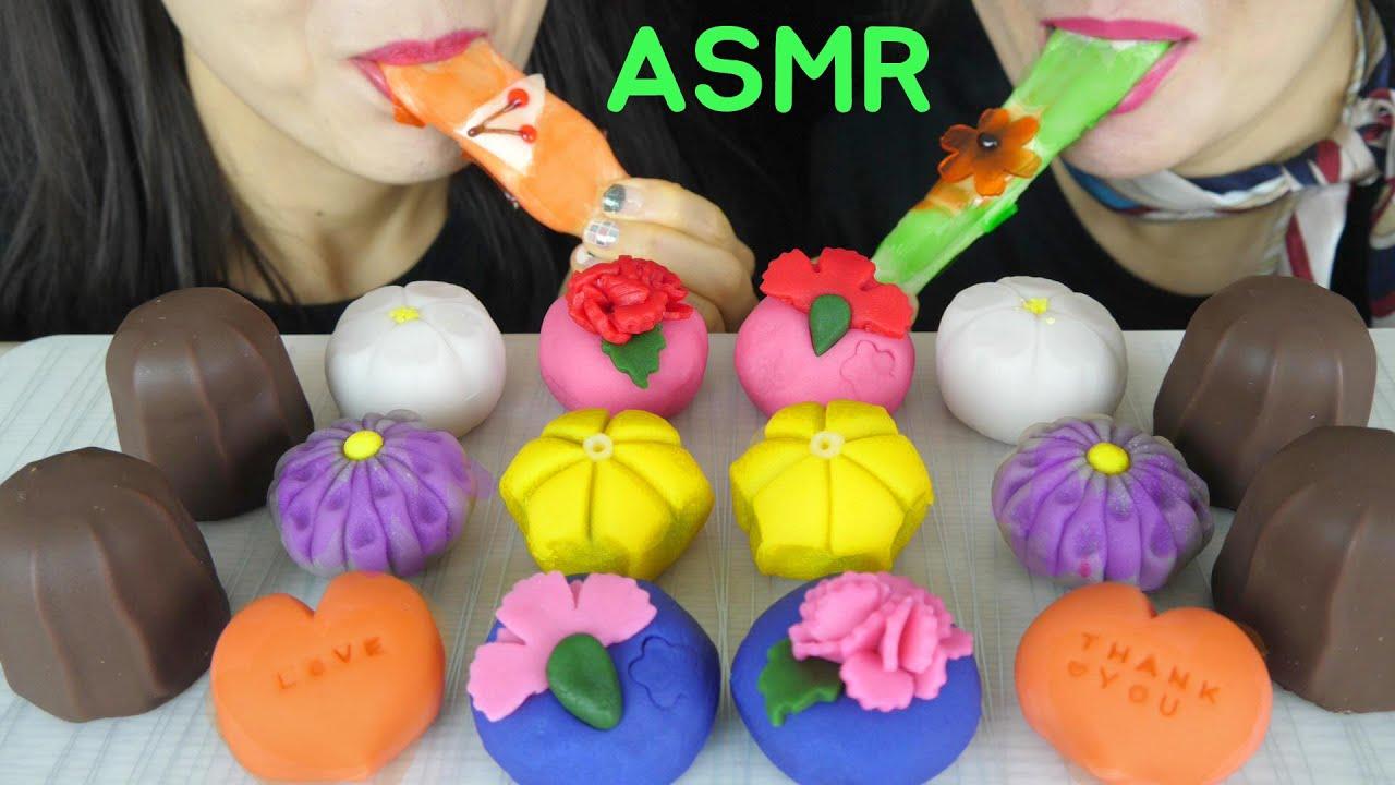 ASMR WAGASHI JAPANESE SWEETS MOCHI, MARSHMALLOW CHOCOLATE EATING SOUNDS MUKBANG 화과자 먹방 Manis jepang