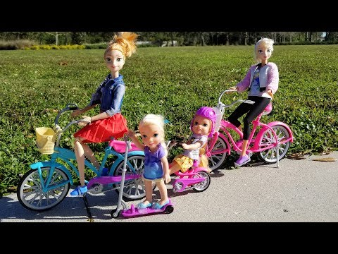 BIKES & LOL Surprise ! Elsa and Anna toddlers - park playing adventure