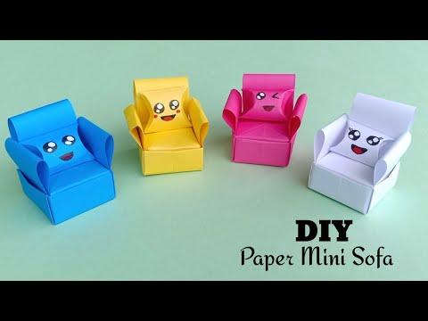 How to make a Paper Sofa | DIY Miniature Sofa / Paper Craft / Origami sofa