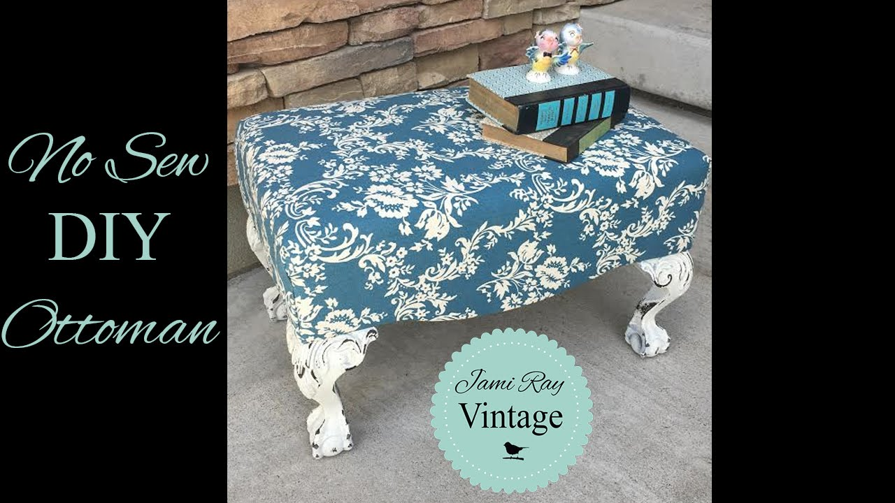 How To Upholster An Ottoman WITHOUT Sewing   YouTube