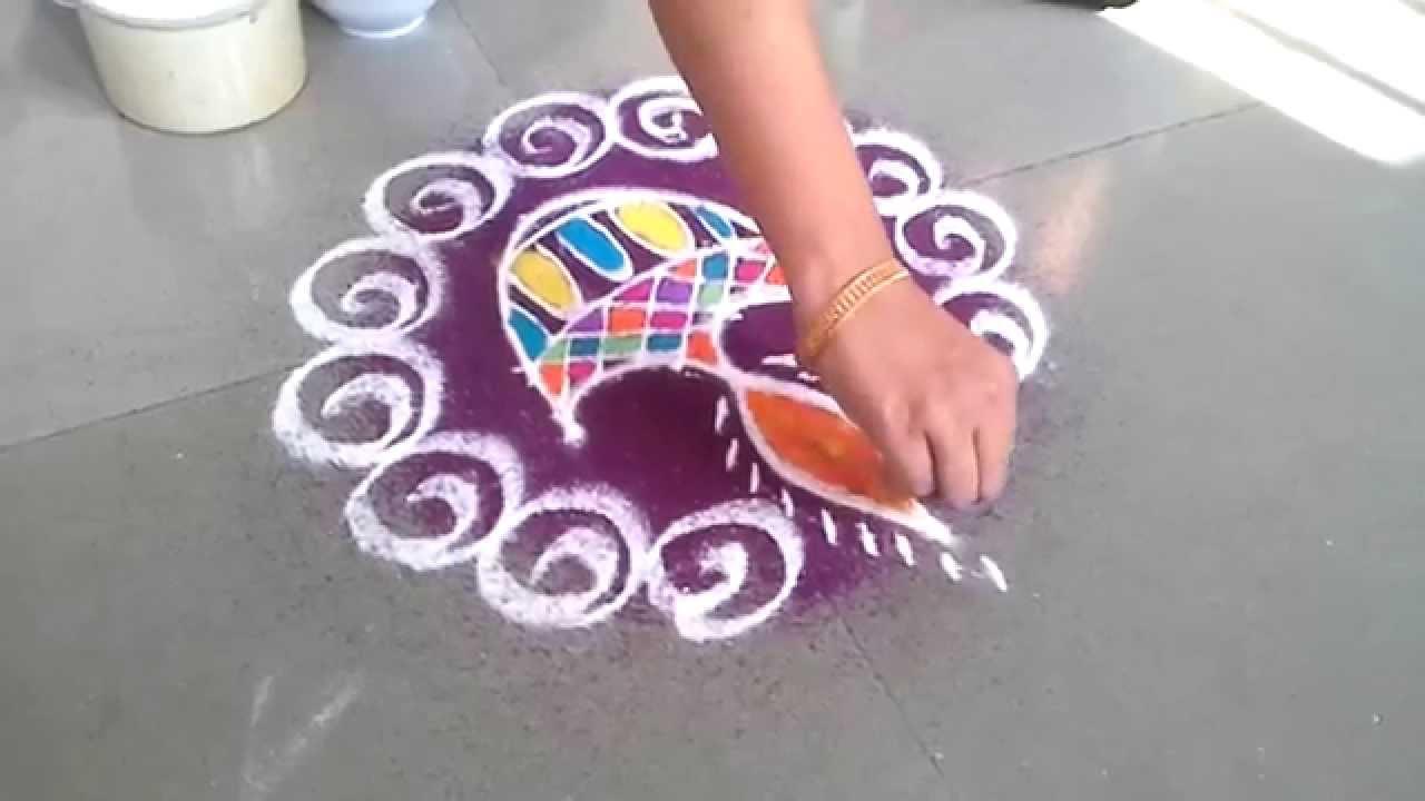 how to make diya rangoli design for diwali - YouTube