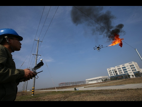Flamethrower Drone Cleans High Voltage Wires In China
