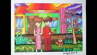 "Cara gradasi warna oil pastel ,Tema ""Chinese new year 2018"""