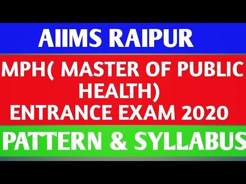 aiims-raipur-|-mph(master-of-public-health)-entrance-exam-2020-pattern-&-syllabus