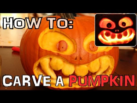 How To Carve A Scary Pumpkin For Halloween With Knife Only - No Tools Needed! - TUTORIAL