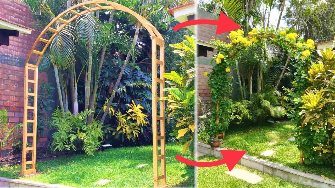 Construyendo una pergola en arco de madera para el jardin for Arcos para jardin