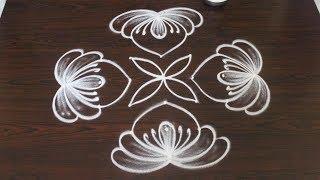 Muggulu designs with 7 dots for VaraLakshmi vratham   easy rangoli   new kolam for Friday
