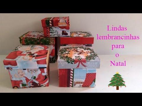 Decoupage em caixa de papelão com temas de natal