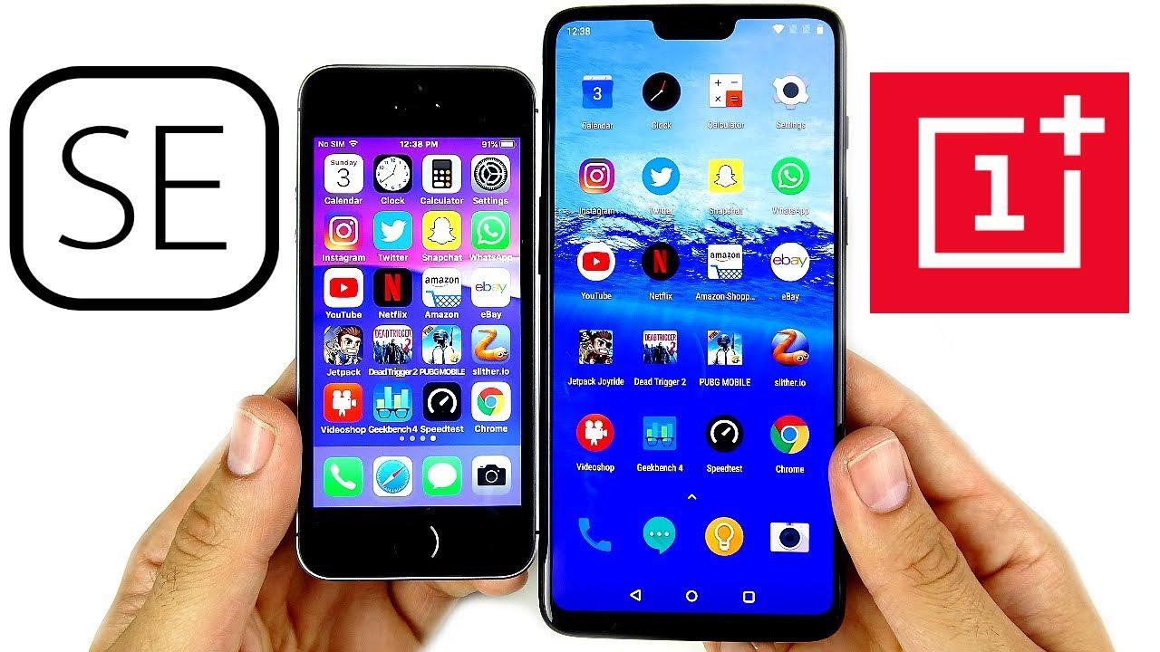 timeless design e06c4 c1201 iPhone SE vs OnePlus 6 Speed Test!