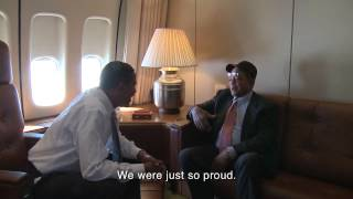 President Barack Obama and Willie Mays on Air Force One