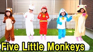 Learn colors with Five little monkeys jumping on the bed Children nursery rhyme songs funny kids