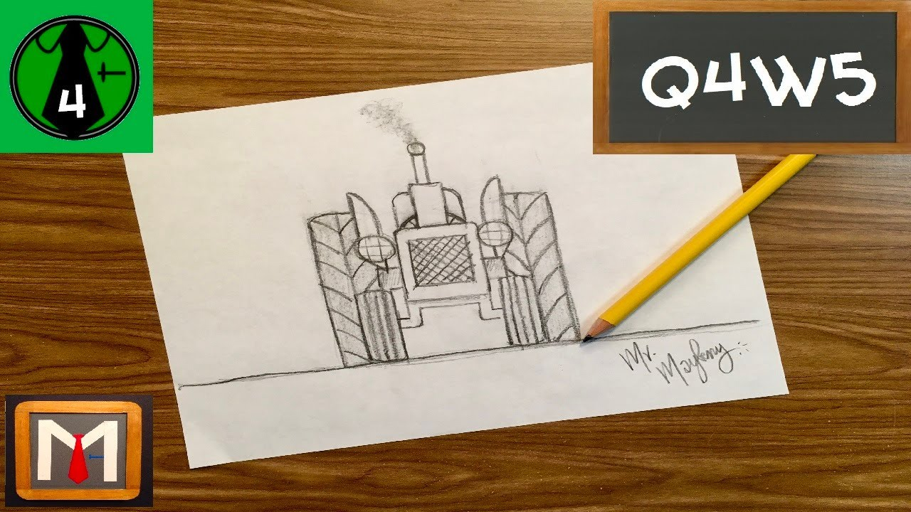 How to Draw a Tractor From the Front