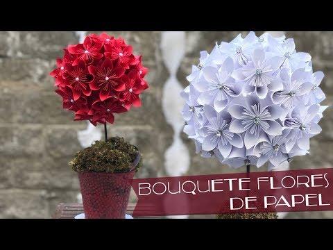 Bouquete de Flores de Papel :: Flores de Origami :: Centro de mesa DIY Chuladas Creativas