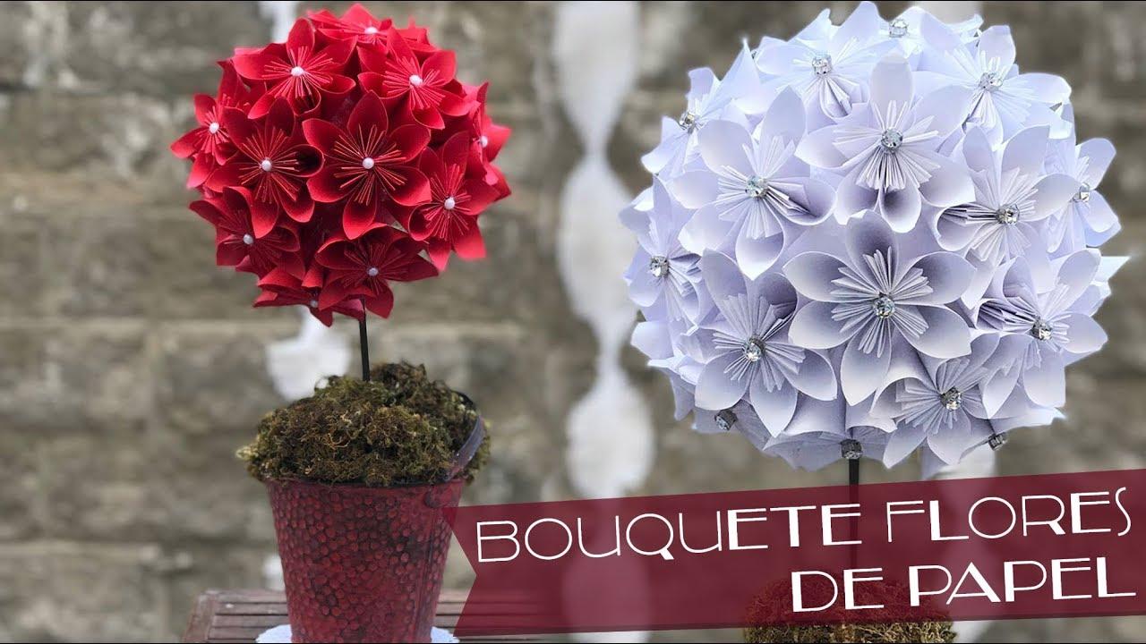 Bouquete De Flores De Papel Flores De Origami Centro De Mesa Diy Chuladas Creativas