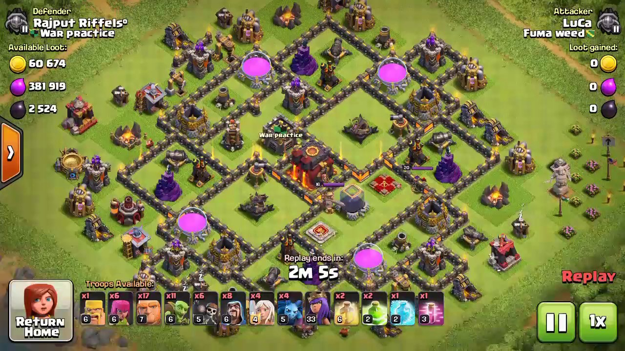 replays on best th9.5🔥 war/hybrid base layout🔥 - youtube