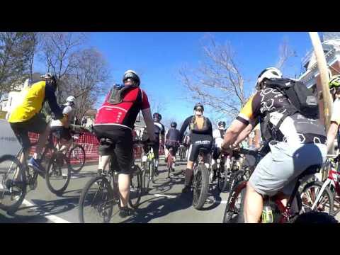 Barry-Roubaix 2016 gravel road bike race. Hastings, Michigan. Wave 15. Race start
