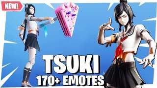 Fortnite TSUKI Skin with 170+ EMOTES DANCES SHOWCASE