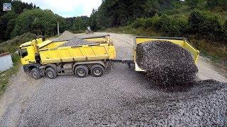 Mercedes Arocs and Tatra Phoenix unload stone