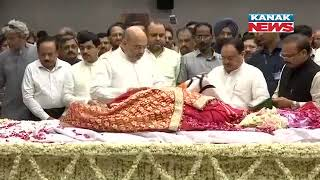 Sushma Swaraj Draped In Saffron BJP Flag Amit Shah Pays Last respect At BJP HQ