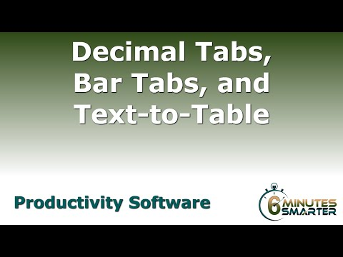 Decimal Tabs, Bar Tabs, and Converting Text to Tables in MS Word