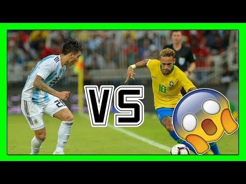 saravia vs neymar - Brasil vs Argentina (1-0) mejores jugadas - highlights - Entrevista 2018