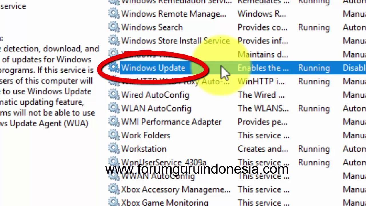 cara menonaktifkan windows update win 10